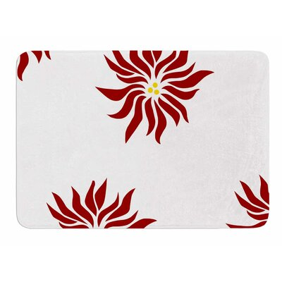 White Pointsettias by NL Designs Memory Foam Bath Mat