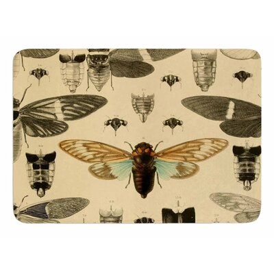 Vintage Cicada by Suzanne Carter Memory Foam Bath Mat