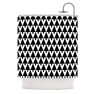 Happy X-Mas by Gabriela Fuente Geometric Shower Curtain Color: Black