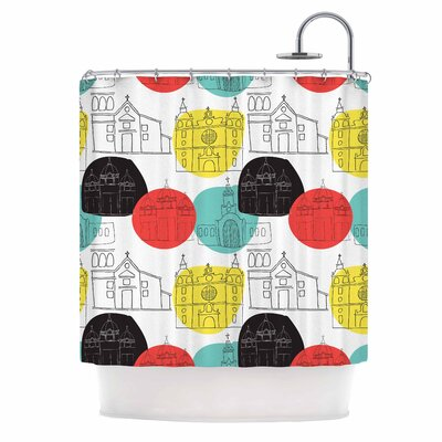 Cartagena Churches by MaJoBV Polkadot Shower Curtain