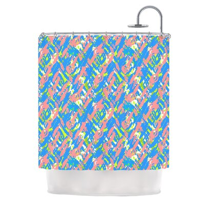 Abstract Print by Nandita Singh Shower Curtain Color: Blue/Pink