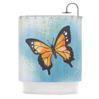 Flutter by Padgett Mason Shower Curtain Color: Blue/Orange