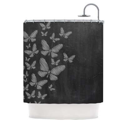 Butterflies IV by Snap Studio Chalk Shower Curtain