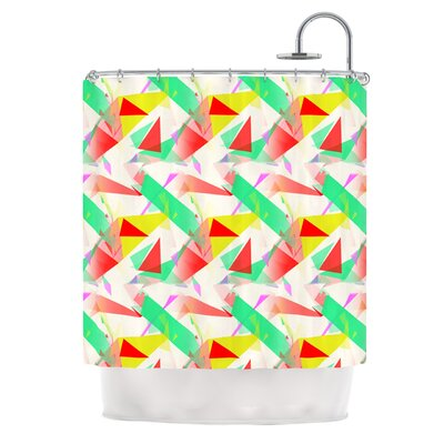 Confetti Triangles by Alison Coxon Shower Curtain Color: Green/Teal