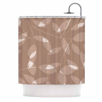 Leaf by Alison Coxon Shower Curtain Color: Brown
