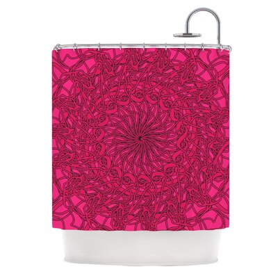 Mandala Spin Berry by Patternmuse Geometric Shower Curtain