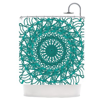 Mandala Spin Jade by Patternmuse Shower Curtain