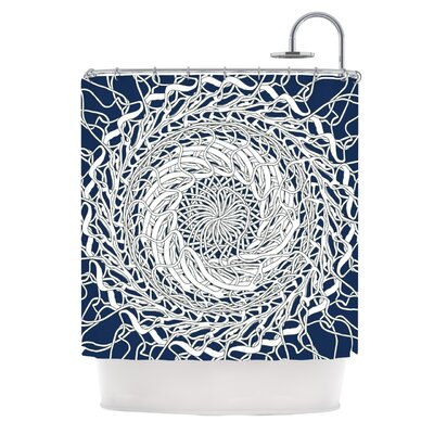 Mandala Spin Navy by Patternmuse Shower Curtain