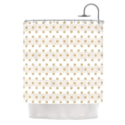 Linen Polka Stripes by Pellerina Design Dots Shower Curtain