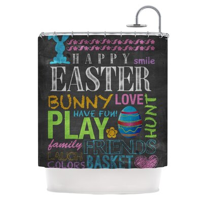 Happy Easter Text by Snap Studio Pastels Typography Shower Curtain