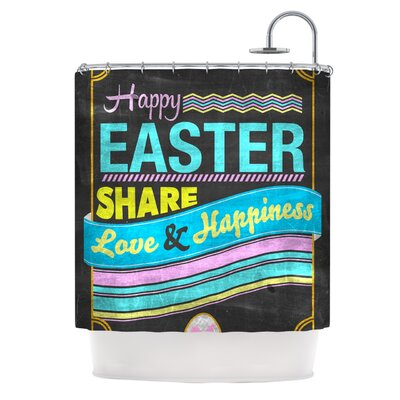 Happy Easter by Snap Studio Pastels Typography Shower Curtain