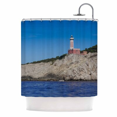 Happy Lighthouse by Violet Hudson Coastal Shower Curtain