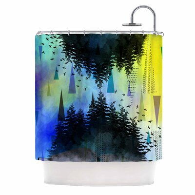 As Above, So Below by AlyZen Moonshadow Shower Curtain Color: Blue/Yellow