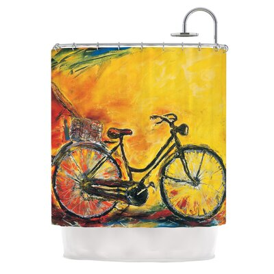To Go by Josh Serafin Bicycle Shower Curtain