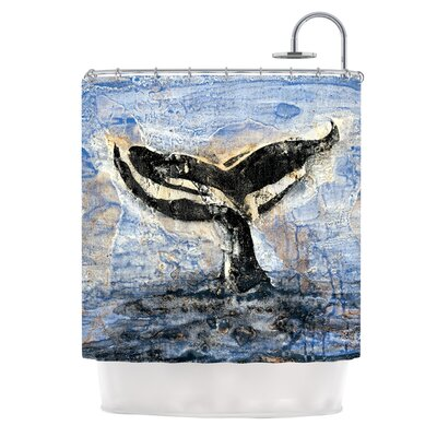 Whale Tail by Josh Serafin Coastal Painting Shower Curtain