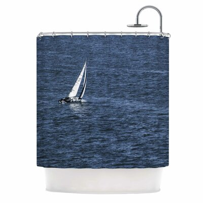 Boat On The Ocean by Nick Nareshni Shower Curtain