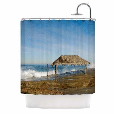 Crashing Waves Near Hut by Nick Nareshni Shower Curtain