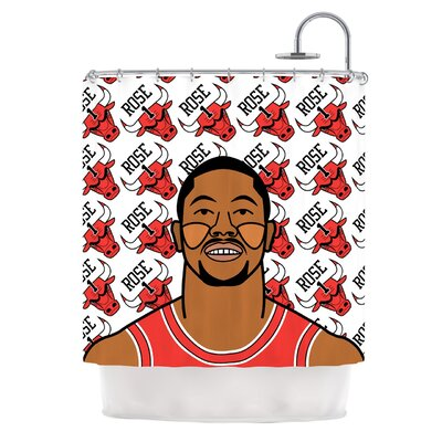 Derrick Rose by Will Wild Basketball Shower Curtain