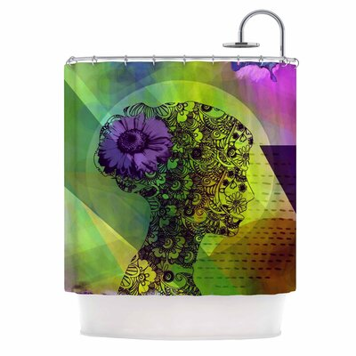 Silhouette by AlyZen Moonshadow Shower Curtain Color: Green/Purple
