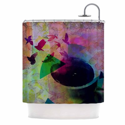 Tea Birds by AlyZen Moonshadow Shower Curtain
