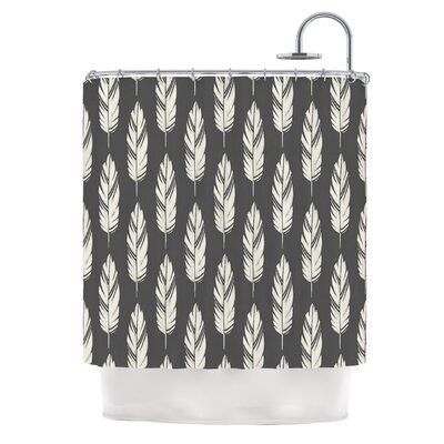 Feathers by Amanda Lane Dark Shower Curtain Color: Black/Cream