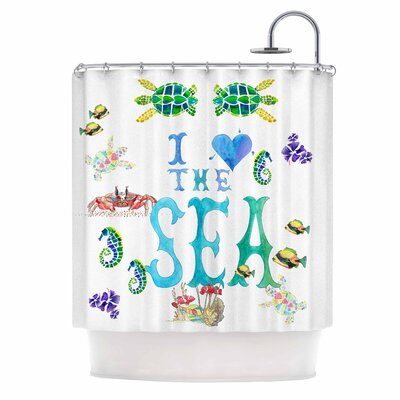 I Love The Sea by Catherine Holcombe Ocean Typography Shower Curtain