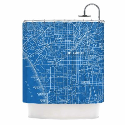 Los Angeles Streets by Catherine Holcombe Map Shower Curtain