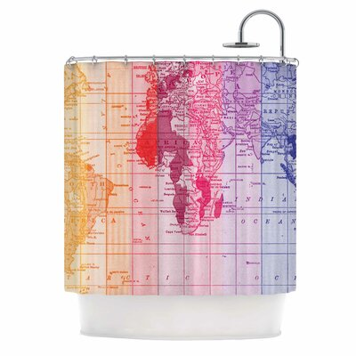 Rainbow World Map by Catherine Holcombe Travel Shower Curtain