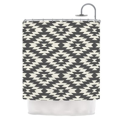 Navajo by Amanda Lane Tribal Geometric Shower Curtain Color: Black/Cream