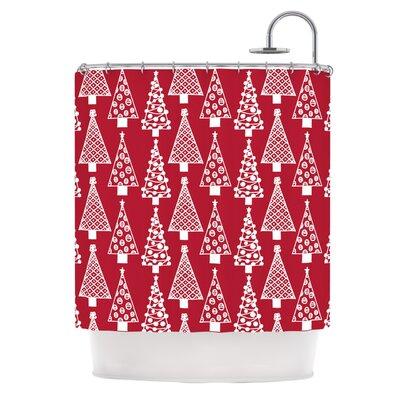 Jolly Trees by Emine Ortega Shower Curtain Color: Crimson