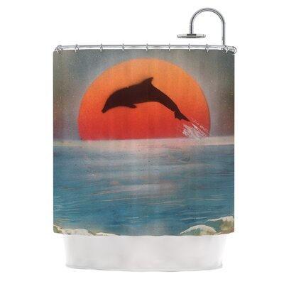 Dolphin Sunset by Infinite Spray Art Shower Curtain