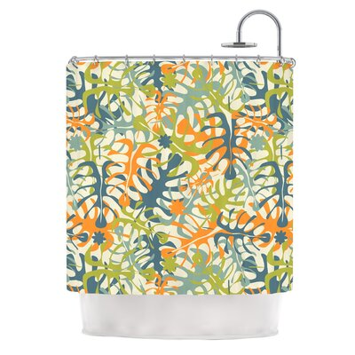 Summer Tropical Leaves by Julia Grifol Shower Curtain
