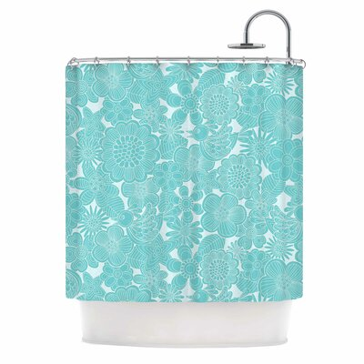 Turquoise Birds by Julia Grifol Shower Curtain
