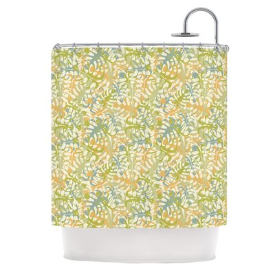 Warm Tropical Leaves by Julia Grifol Shower Curtain