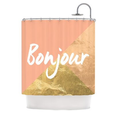 Bonjour Gold Metallic Shower Curtain