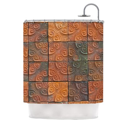 Whimsy Tile by Susan Sanders Rustic Shower Curtain