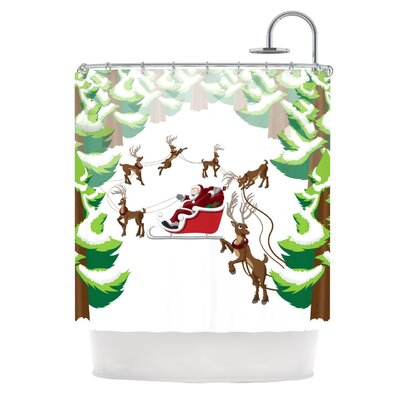 Forest Sleigh Scene Holiday Illustration Shower Curtain