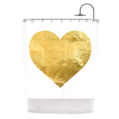 Heart of Gold Metallic Shower Curtain