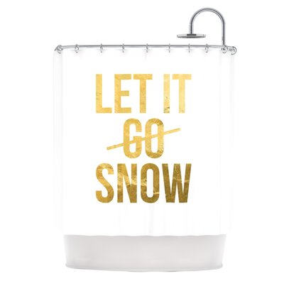 Let it Snow Metallic Typography Shower Curtain