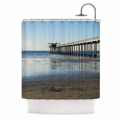 Scripps Beach Pier by Nick Nareshni Coastal Photography Shower Curtain