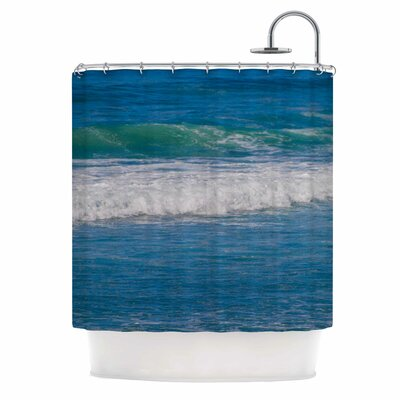 Solana Beach Rolling Waves by Nick Nareshni Coastal Shower Curtain