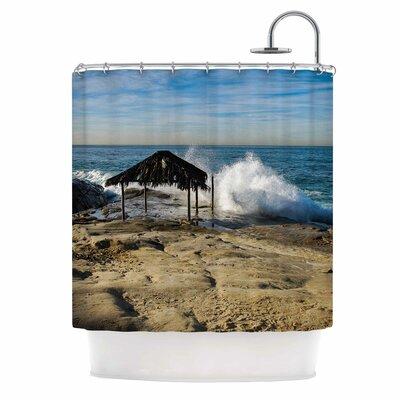 Straw Hut On Beach by Nick Nareshni Shower Curtain