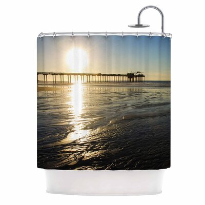Sun Over Scripps Pier by Nick Nareshni Shower Curtain