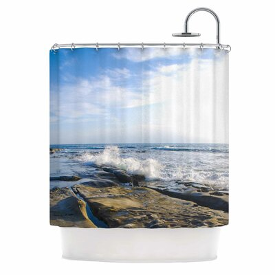 Wave Against Rocks by Nick Nareshni Shower Curtain