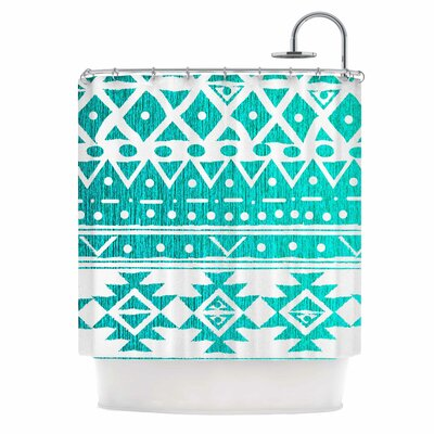 Aquamarine Tribal by Nika Martinez Shower Curtain