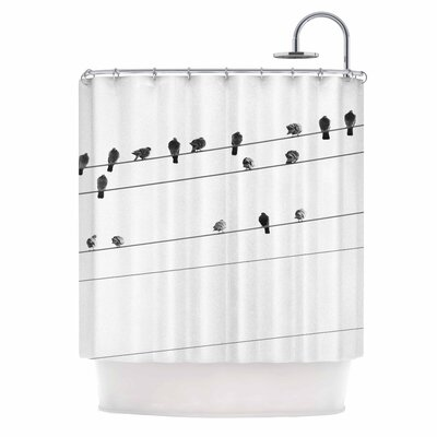 Birds on Wire by Qing Ji Shower Curtain