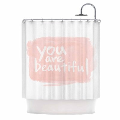 Brush Lettering Beautiful by Qing Ji Shower Curtain