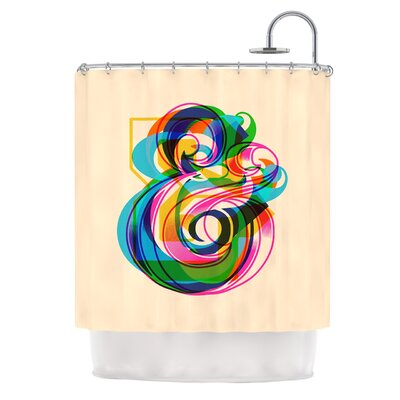 Champersands by Roberlan Digital Typography Shower Curtain
