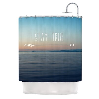 Stay True by Ann Barnes Coastal Typography Shower Curtain