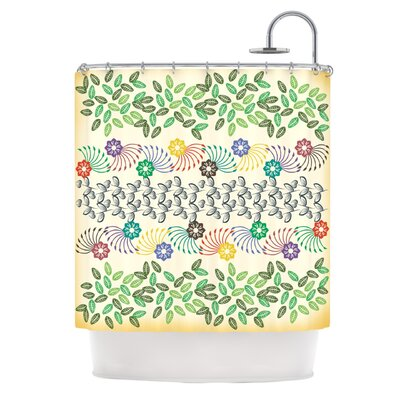 Flowers & Leaves by Famenxt Abstract Geometric Shower Curtain